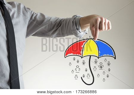 Holding Umbrella Over People Concept