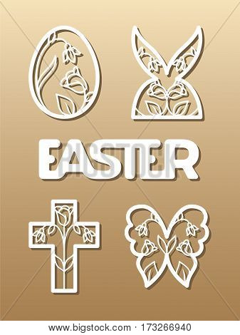 Laser cut template for Easter invitation, congratulation or greeting cards. The word