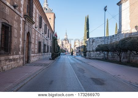 Alcala de henares madrid Spain-FEBRUARY 25 2017. Colleges Street and courts of first instance