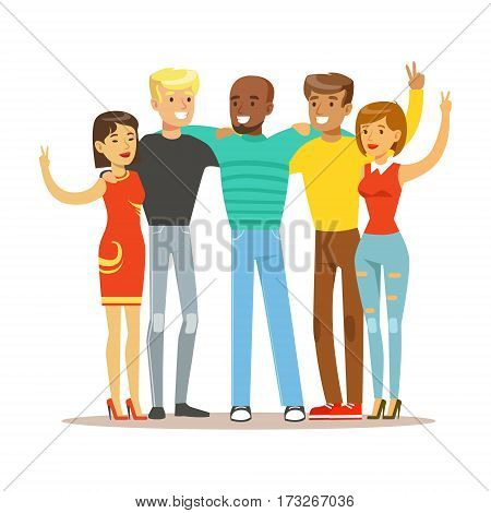 Young Friends From All Around The World Standing Hugging, Happy International Friendship Vector Cartoon Illustration. People Of Different Nationalities Smiling United Showing Peace Gesture.