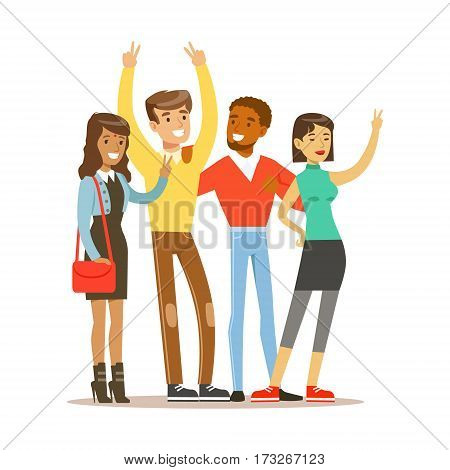 Young Friends From All Around The World Standing To Take Picture, Happy International Friendship Vector Cartoon Illustration. People Of Different Nationalities Smiling United Showing Peace Gesture.