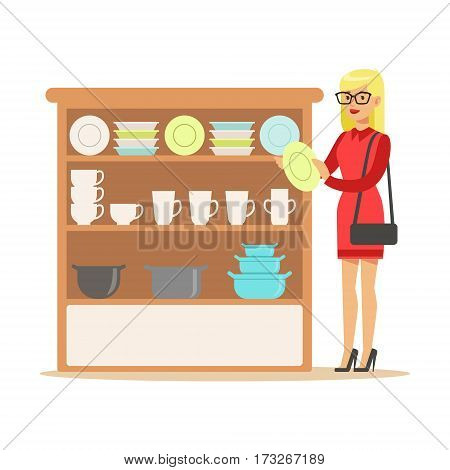 Woman Choosing Tableware, Smiling Shopper In Furniture Shop Shopping For House Decor Elements. Cartoon Character Looking For Home Interior Design Items In Shopping Mall.