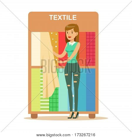 Woman Choosing Textile Drapers, Smiling Shopper In Furniture Shop Shopping For House Decor Elements. Cartoon Character Looking For Home Interior Design Items In Shopping Mall.