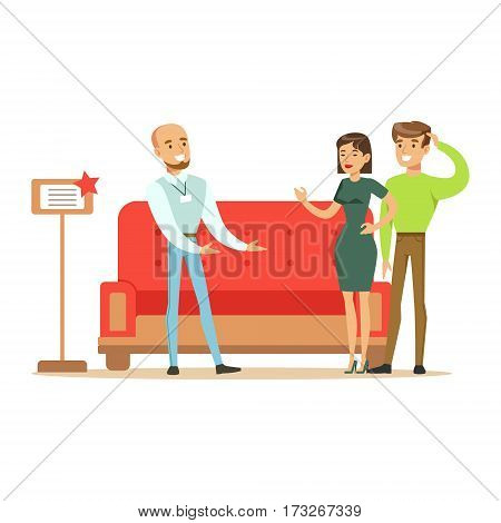 Store Seller Selling Red Sofa To Couple, Smiling Shopper In Furniture Shop Shopping For House Decor Elements. Cartoon Characters Looking For Home Interior Design Items In Shopping Mall.