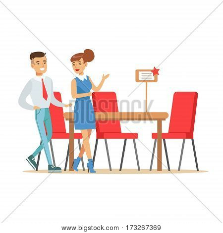 Couple Buying Big Dining Table And Chairs For Dining Room, Smiling Shopper In Furniture Shop Shopping For House Decor Elements. Cartoon Characters Looking For Home Interior Design Items In Shopping Mall.