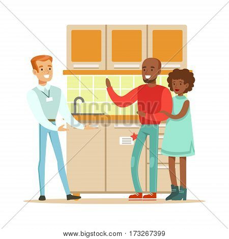 Store Seller Selling Kitchen Set To Couple, Smiling Shopper In Furniture Shop Shopping For House Decor Elements. Cartoon Characters Looking For Home Interior Design Items In Shopping Mall.