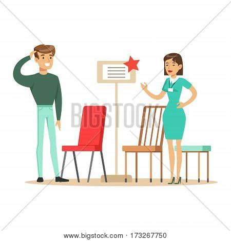 Store Seller Showing Chair Assortment To Man, Smiling Shopper In Furniture Shop Shopping For House Decor Elements. Cartoon Characters Looking For Home Interior Design Items In Shopping Mall.