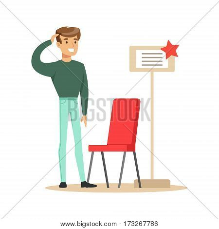 Man Buying A Red Chair, Smiling Shopper In Furniture Shop Shopping For House Decor Elements. Cartoon Character Looking For Home Interior Design Items In Shopping Mall.
