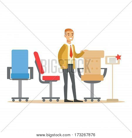 Man Choosing Comfortable Office Armchair, Smiling Shopper In Furniture Shop Shopping For House Decor Elements. Cartoon Character Looking For Home Interior Design Items In Shopping Mall.