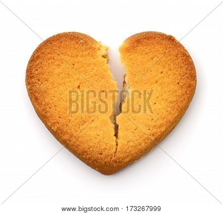 Cookie in the form of broken heart - a symbol of love.