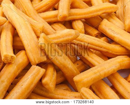 Closeup To Chicken Leg Snack / Dried Biscuit Stick Background
