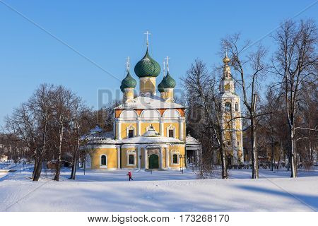 Transfiguration Cathedral of the Uglich Kremlin in winter, Russia