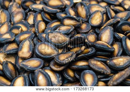 Closeup To Blur Dried Watermelon Seed Snack Background