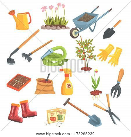 Gardeners Equipment Set Of Objects Needed For Gardening And Farming Isolated Vector Illustrations. Garden Work Tools Collection Of Cute Colorful Cartoon Stickers.