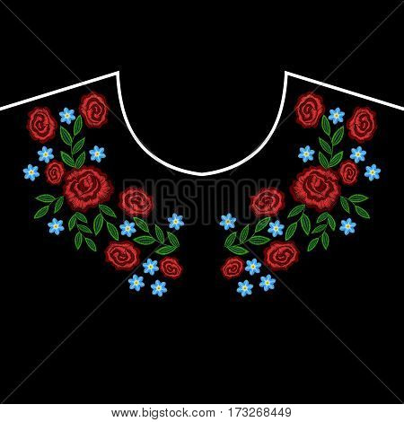 Embroidery rose, forget me not flowers wreath for neckline. Vector fashion embroidered ornament on black background for textile, fabric traditional folk decoration.