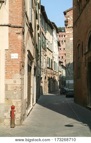Lucca, Italy - 14 June 2014: Street at the old part of Lucca on Italy