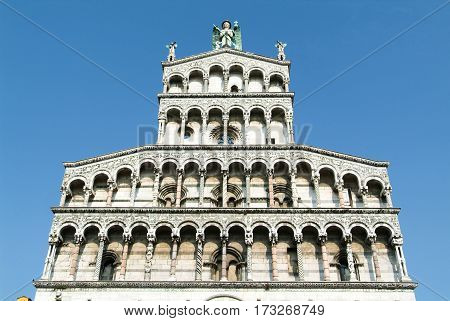 Lucca, Italy - 14 June 2014: The cathedral of Lucca on Italy