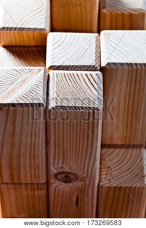The processed pine details of a wooden design
