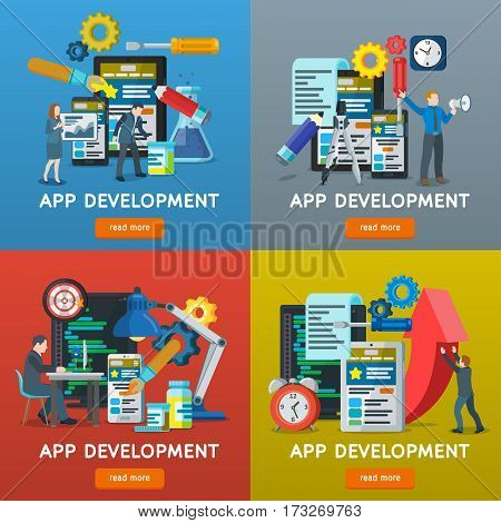 Set of banners in flat style. Design concept for website. Mobile application development search engine optimization. Web analytics elements and marketing. Workplace expert in SEO. Vector illustration