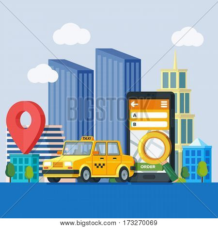 Online taxi service. Banner in flat 3d style. Yellow taxi cab. Mobile phone with map and big city on background. City silhouette with skyscrapers. Vector illustrations flat design in flat modern style