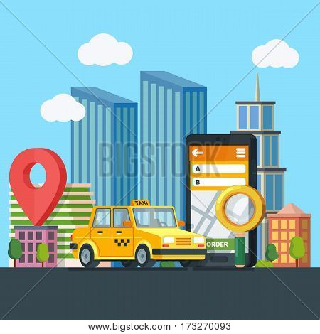 Online taxi service. Yellow taxi cab. Banner in flat 3d style. City silhouette with skyscrapers. Mobile phone with map and big city on background. Vector illustrations flat design in flat modern style