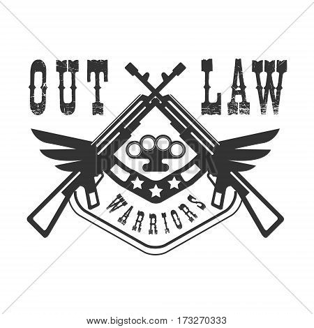 Criminal Outlaw Street Club Black And White Sign Design Template With Text And Winged Rifles Monochrome Vector Emblem With Ghetto Symbols For Prints And Stencils.