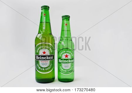 Dusseldorf, Germany - February 18, 2017: Two Bottles Heineken Beer On White Background.
