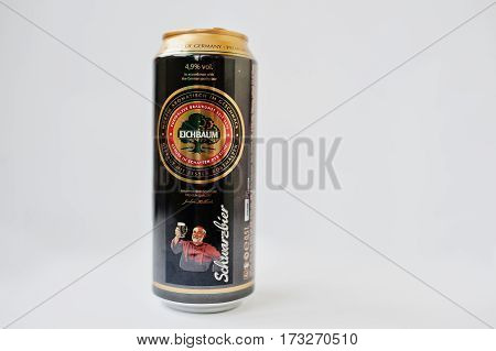 Dusseldorf, Germany - February 18, 2017: Iron Bottles Can Of Eichbaum Schwarzbier Beer On White Back