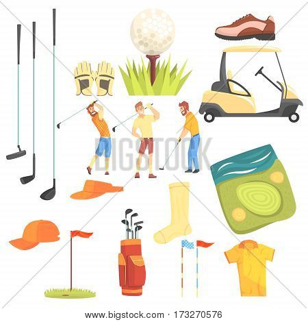 Three Golfers Playing Golf Surrounded By Sport Equipment And Game Attributes Cartoon Vector Illustration. Golf Players Enjoying Time On Golf Field Set Of Sportive Objects Icons.