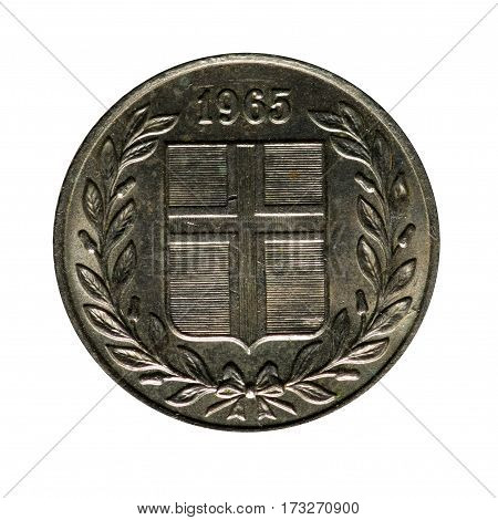 metal coin five Eire Iceland.coin isolated on white background .obverse coin .