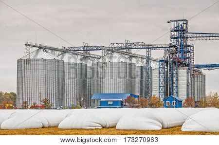 Steel grain silos used to store grain