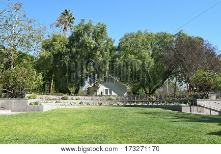 YORBA LINDA, CALIFORNIA - FEBRUARY 24, 2017: Richard Nixon Birthplace and Library Grounds. The home was built by the future presidents father in 1912.