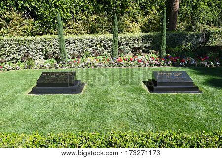 YORBA LINDA, CALIFORNIA - FEBRUARY 24, 2017: President Richard M Nixon and Patricia Ryan Nixon Grave markers. The 37th president and his wife are buried at the Nixon Library and Birthplace.