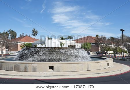 YORBA LINDA, CALIFORNIA - FEBRUARY 24, 2017: Fountain at the Richard Nixon Library and Birthplace. The presidential library and museum and final resting place of the 37th president.