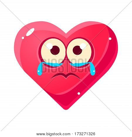 Crying Upset Emoji, Pink Heart Emotional Facial Expression Isolated Icon With Love Symbol Emoticon Cartoon Character. Simple Heart-Shaped Face With Emotion Vector Sticker For Social Networks.