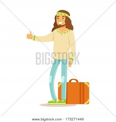Guy Hippie Dressed In Classic Woodstock Sixties Hippy Subculture Clothes Hiitchhiking With Suitcase. Happy Cartoon Character Belonging To 60s Peaceful Subculture Movement Camping In Nature.