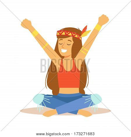 Girl Hippie Dressed In Classic Woodstock Sixties Hippy Subculture Clothes And Headdress With Feather. Happy Cartoon Character Belonging To 60s Peaceful Subculture Movement Camping In Nature.