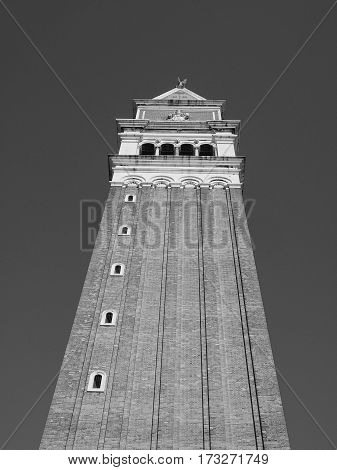 St Mark Campanile In Venice In Black And White