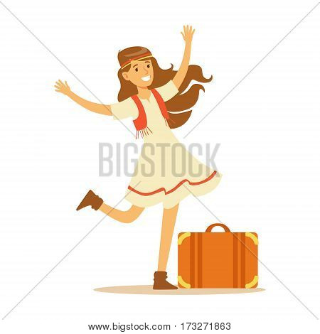 Hippie Dressed In Classic Woodstock Sixties Hippy Subculture Clothes, Dress And Vest Traveling With Suitcase. Happy Cartoon Character Belonging To 60s Peaceful Subculture Movement Camping In Nature.