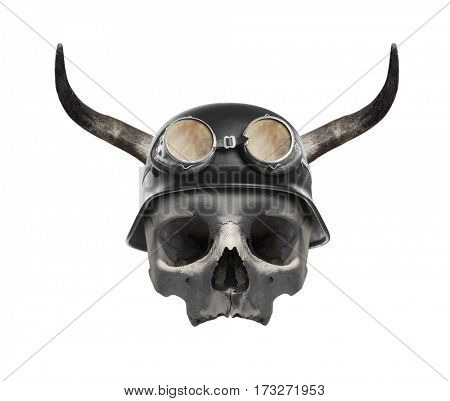Skull of dead biker. Helmet with bull's long horns is symbol of many wild gangs on motorcycles. Object isolated on white background.
