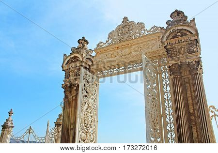 Gate in the garden of Dolmabahce Palace, Istanbul, Turkey