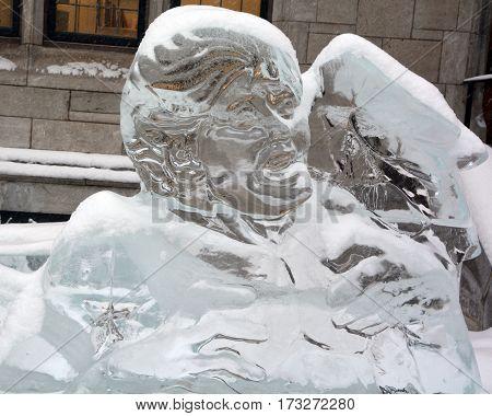 MONTREAL CANADA 02 13 2017: Elvis Presley Ice Sculptures, Montreal offers a wide variety of ice sculptures all around the city.