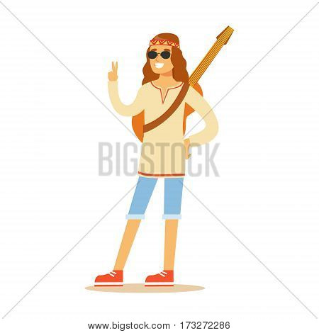 Guy Hippie Dressed In Classic Woodstock Sixties Hippy Subculture Clothes And Round Shades Showing Peace Gesture. Happy Cartoon Character Belonging To 60s Peaceful Subculture Movement Camping In Nature.
