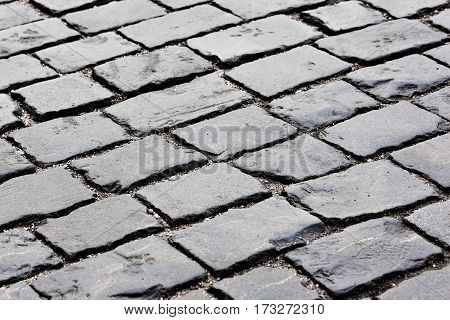 Close-up view of paving stone at Red Square