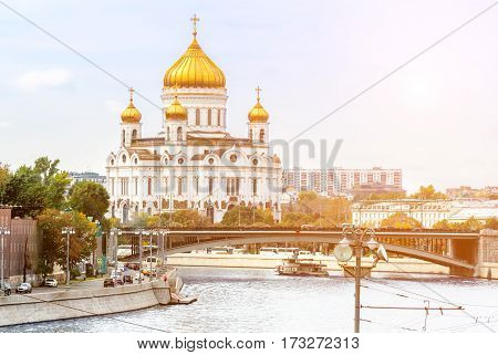View from the river to the Cathedral of Christ the Saviour in Moscow