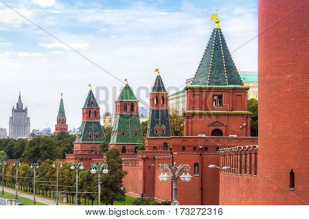 Perspective view of Moscow Kremlin wall Russia