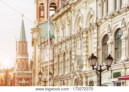 MOSCOW - SEPTEMBER 22 2015: Close up view of Nikolskaya Street with Nikolskaya Tower on the background. This pedestrian area with luxurious shops was reconstructed in 2013.