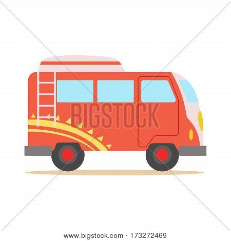 Red Minivan With Cool Pattern Classic Woodstock Sixties Hippy Subculture Transport Symbol. Cartoon Vehicle For Camping In Nature Belonging To 60s Peaceful Subculture Movement.