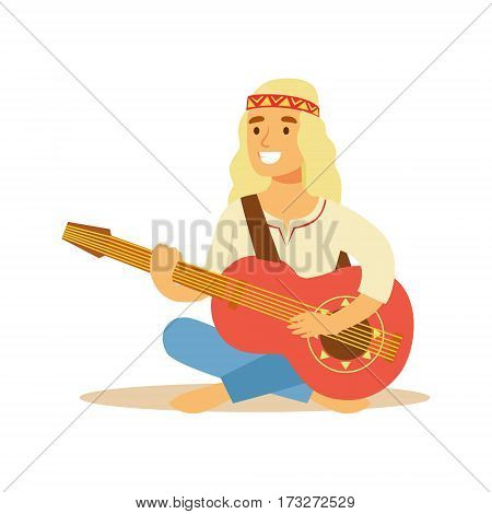 Guy Hippie Dressed In Classic Woodstock Sixties Hippy Subculture Clothes Sitting Barefoot With Guitar. Happy Cartoon Character Belonging To 60s Peaceful Subculture Movement Camping In Nature.