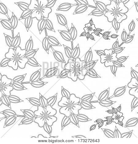 Beautiful vector seamless background with flowers and leaves. Can be used for printing on fabric for wrapping paper and for the background of the site.